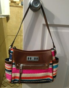 Lightly used small striped Chaps shoulder bag